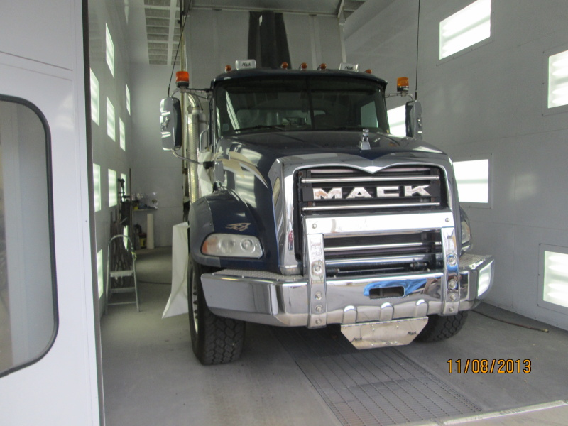 Mack Truck in paint area of shop